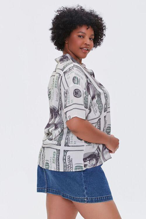 CREAM/BLACK Plus Size Hundred Dollar Bill Shirt, image 2