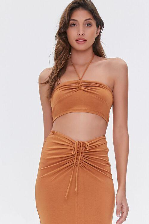 Ruched Halter Top & Midi Skirt Set, image 4