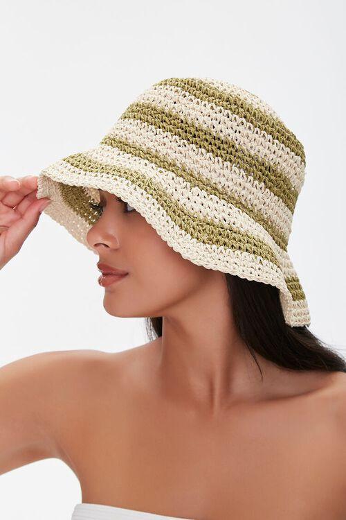 Faux Straw Striped Bucket Hat, image 2