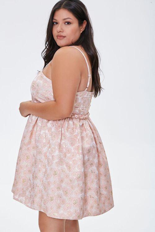 Plus Size Jacquard Rose Print Dress, image 2