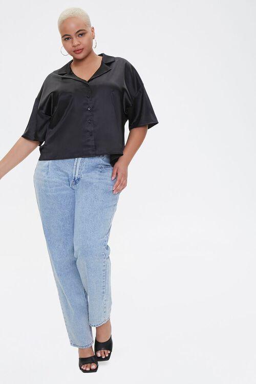 Plus Size Cropped Satin Shirt, image 4