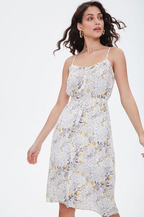 CREAM/MULTI Floral Chiffon Midi Dress, image 2
