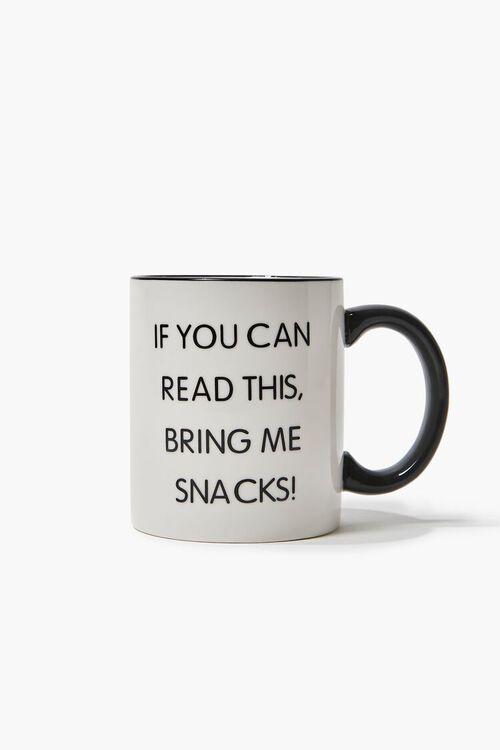 WHITE/BLACK Bring Me Snacks Graphic Mug, image 1