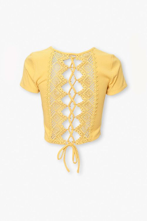 Ribbed Crochet Lace-Up Top, image 2