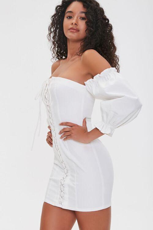 Off-the-Shoulder Lace-Up Dress, image 1