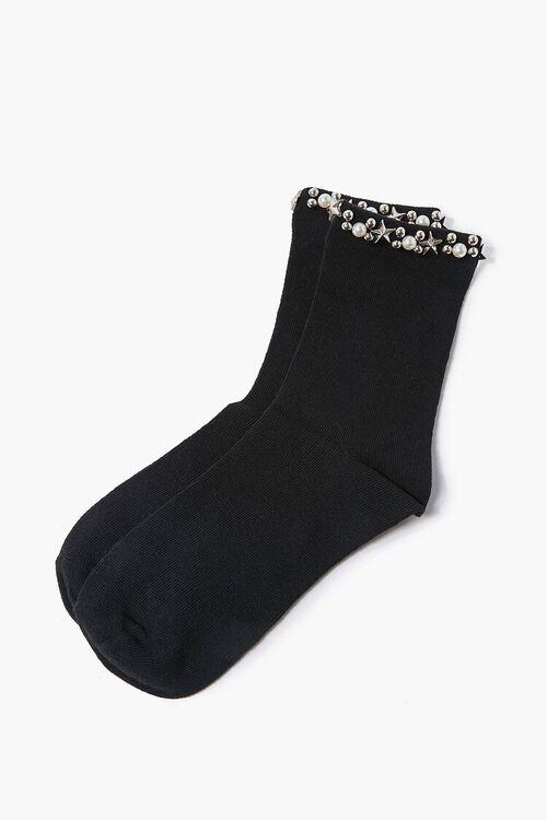 Faux Pearl Embellished Crew Socks, image 2