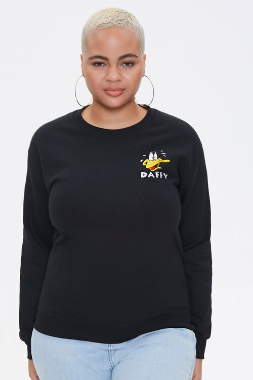 Plus Size Daffy Duck Graphic Pullover, image 1