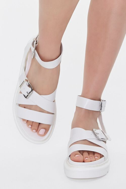 Faux Leather Dual-Buckle Flatform Sandals, image 4