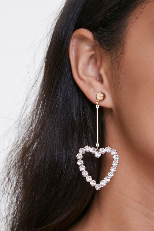 Faux Gem Heart Earrings, image 1