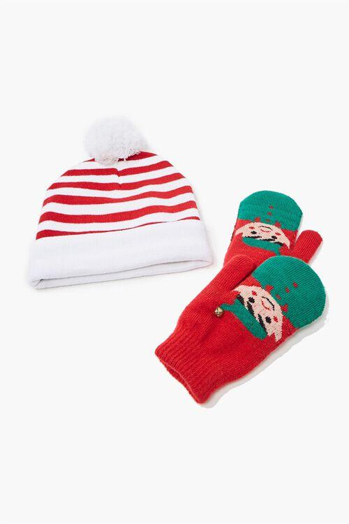 Girls Santas Helper Beanie & Mittens Set (Kids), image 3