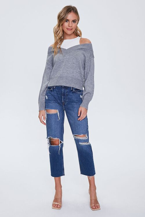 Ribbed-Trim Combo Sweater, image 4