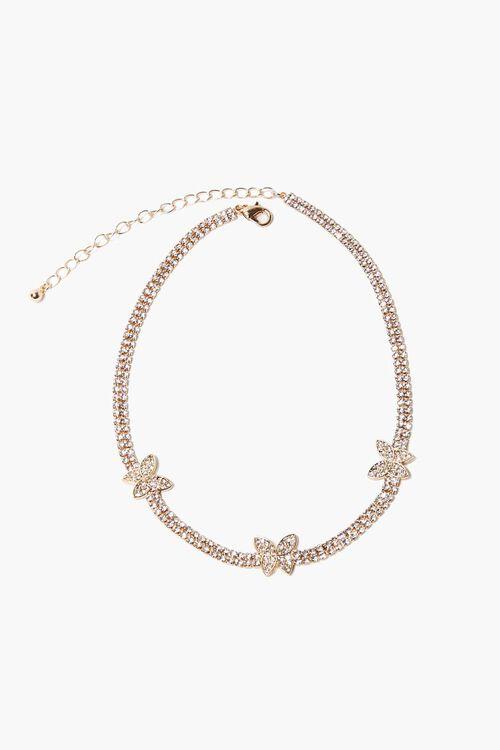 Rhinestone Butterfly Charm Choker Necklace, image 2