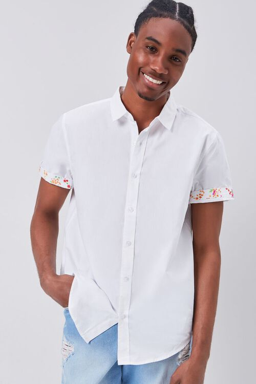 WHITE/MULTI Floral-Trim Fitted Shirt, image 1