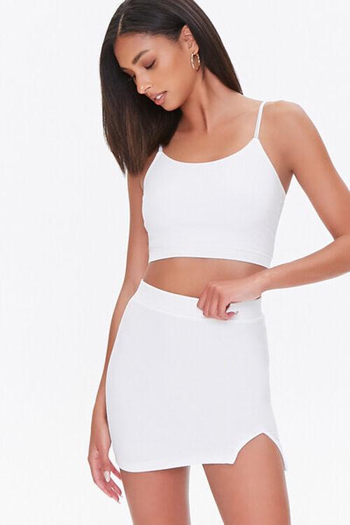WHITE Vented Mini Skirt, image 1