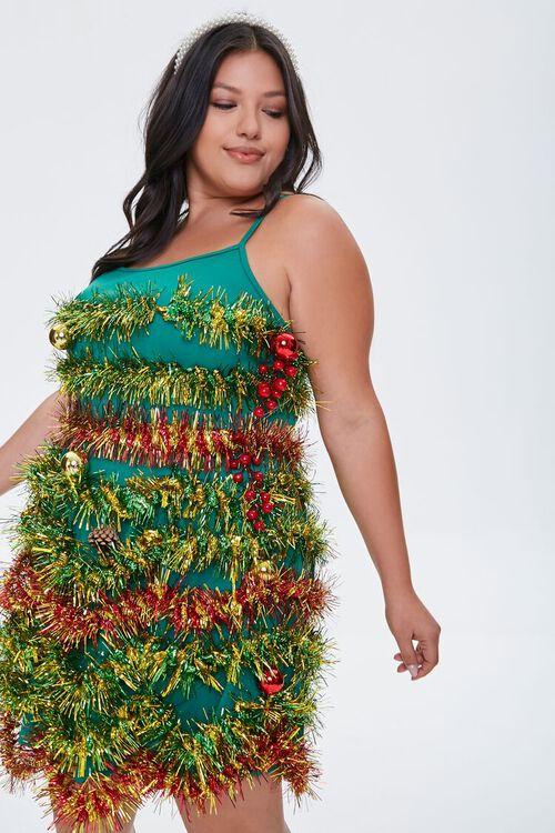 Plus Size Tinsel Garland Mini Dress, image 1