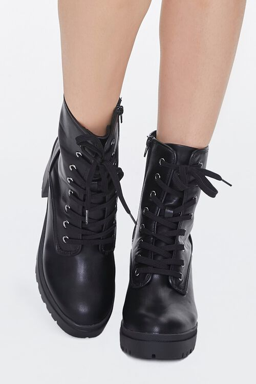 Lace-Up Faux Leather Booties, image 4