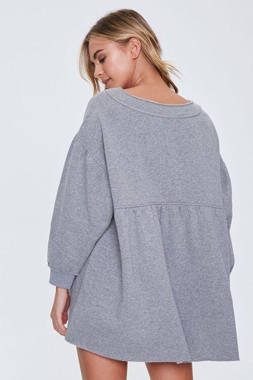 HEATHER GREY Fleece Drop-Sleeve Mini Dress, image 3