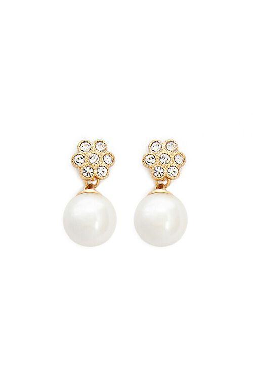 Floral Rhinestone & Faux Pearl Drop Earrings, image 1