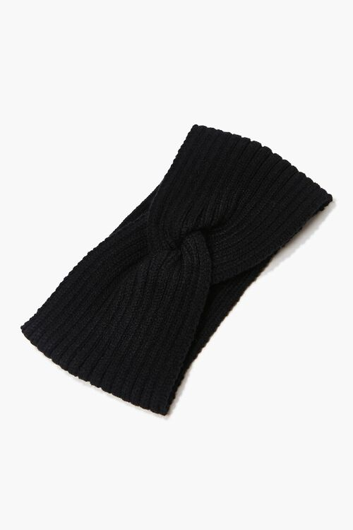 BLACK Ribbed Twisted Headwrap, image 2
