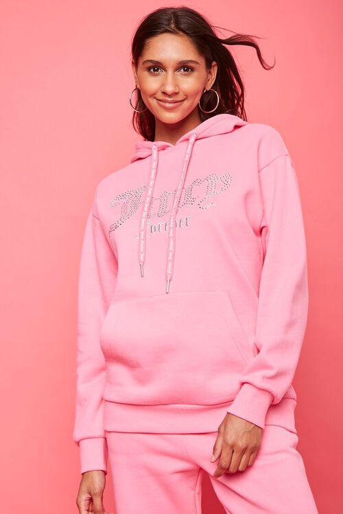 PINK/MULTI Juicy Couture Rhinestone Fleece Hoodie, image 1