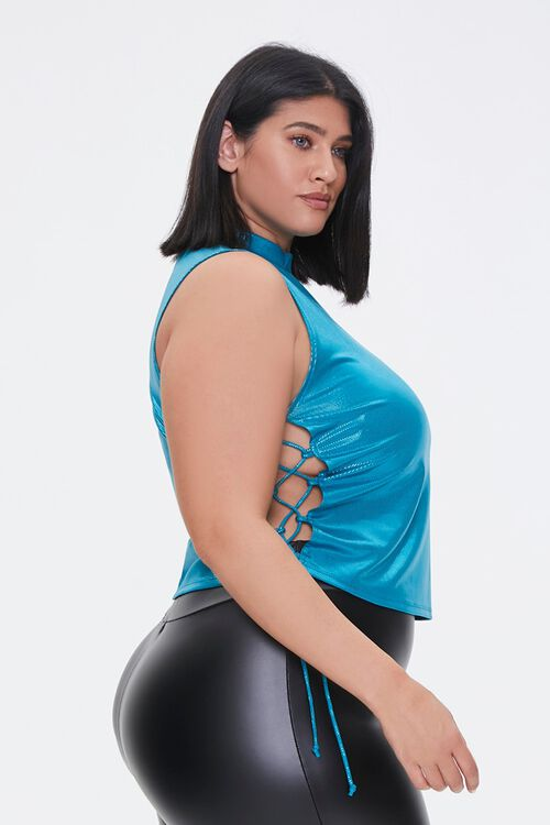 Plus Size Metallic Lace-Up Crop Top, image 2