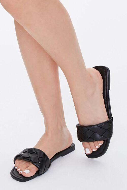 BLACK Basketwoven Faux Leather Sandals, image 5