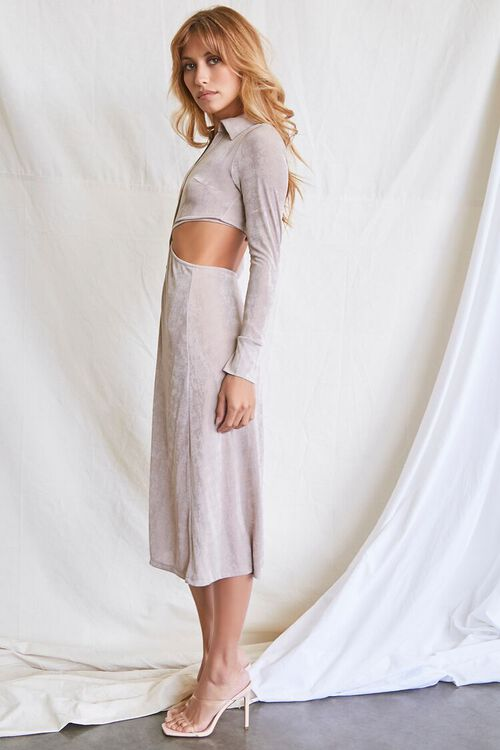 OYSTER GREY Button-Front Cutout Dress, image 2