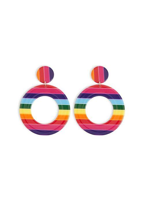 RED/MULTI Multicolor Striped Drop Earrings, image 1