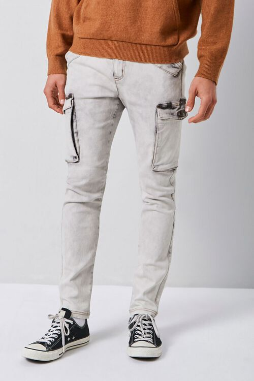 Bleach Washed Cargo Jeans, image 2