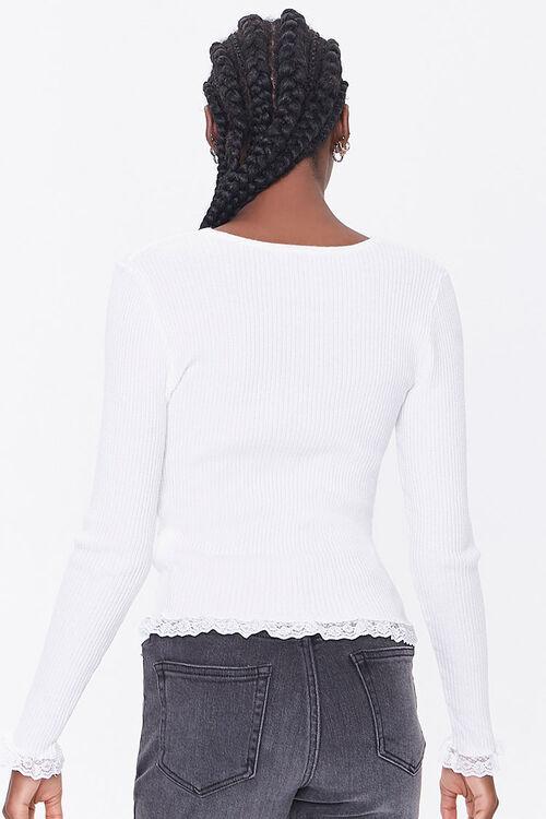 Ribbed Lace-Trim Cardigan, image 3