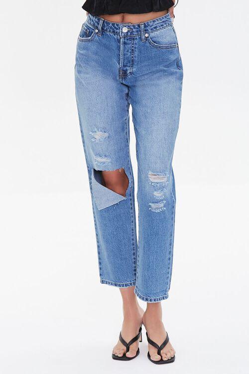 MEDIUM DENIM Premium Distressed Boyfriend Jeans, image 2