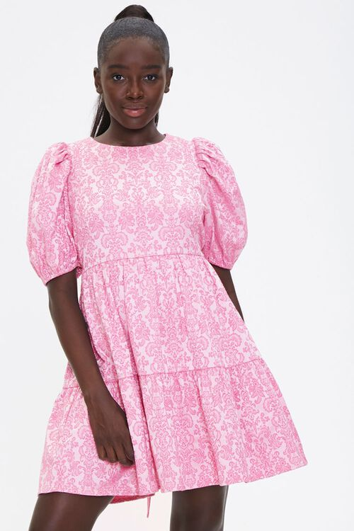 Baroque Print Mini Dress, image 1