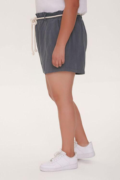 Plus Size Rope Belt Paperbag Shorts, image 3