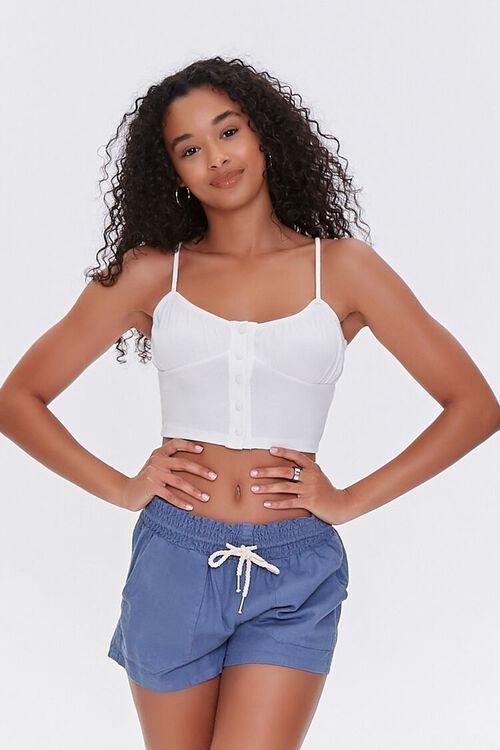 Linen-Blend Drawstring Shorts, image 1