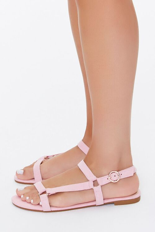 Faux Suede Caged Sandals, image 3
