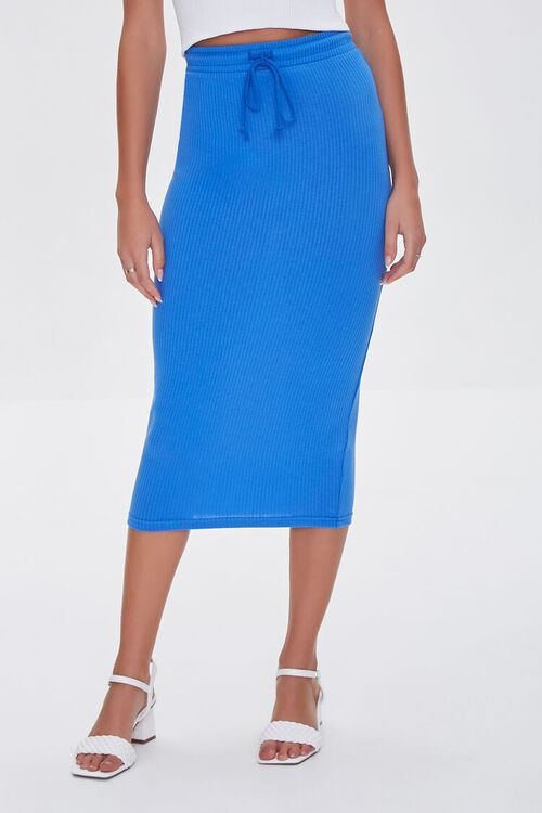 ROYAL BLUE  Fitted Drawstring Skirt, image 2