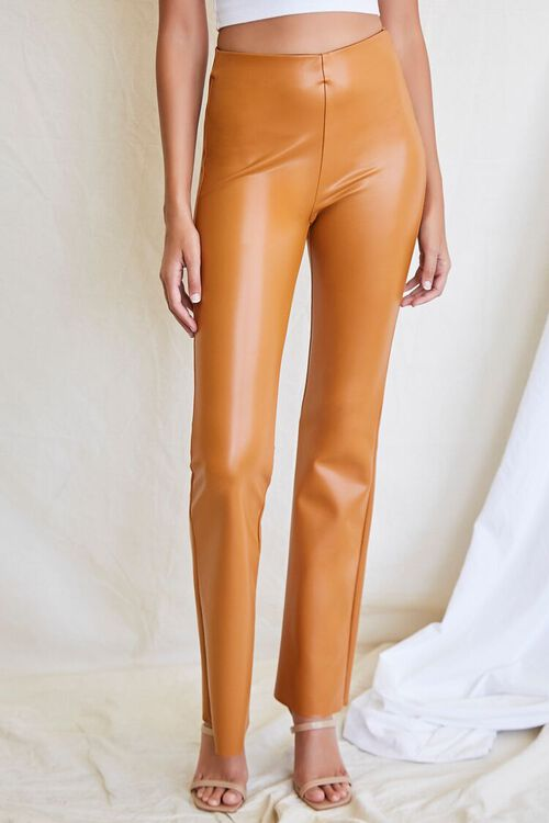 CAMEL Faux Leather Flare Pants, image 2