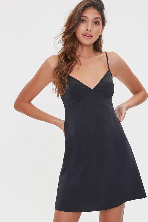 BLACK Satin V-Back Slip Dress, image 1