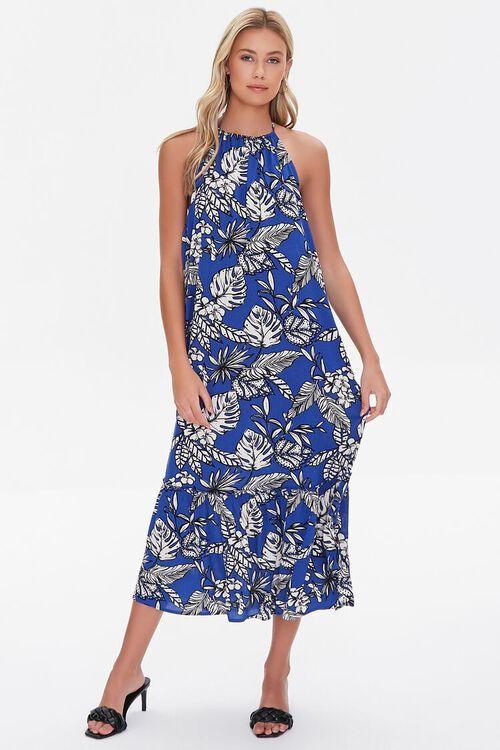 BLUE/CREAM Tropical Leaf Print Halter Dress, image 4