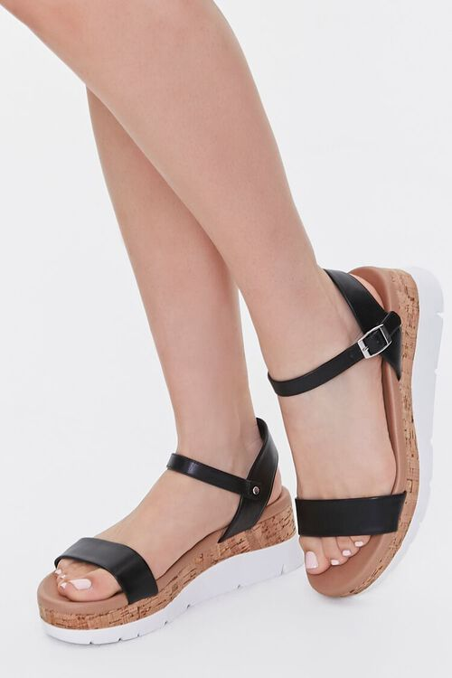BLACK Faux Leather Open-Toe Wedges, image 1