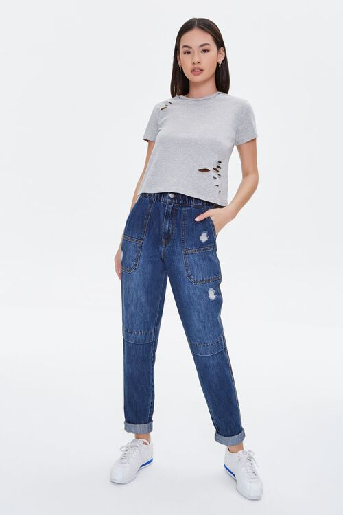 Distressed Cotton-Blend Tee, image 5