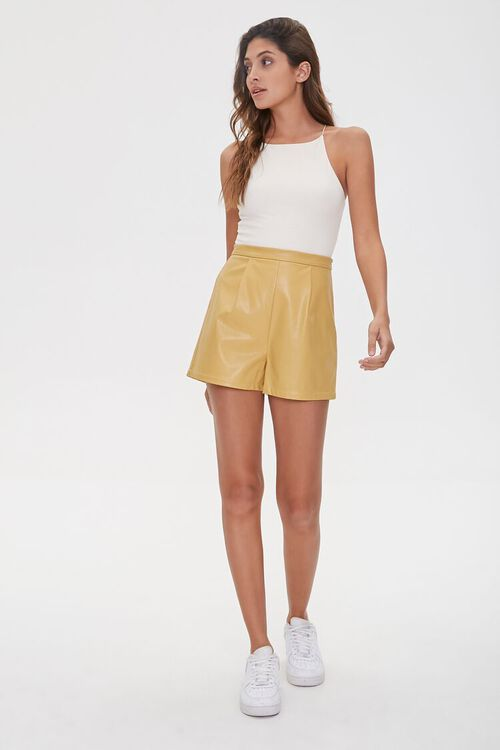 TAN Faux Leather Shorts, image 5