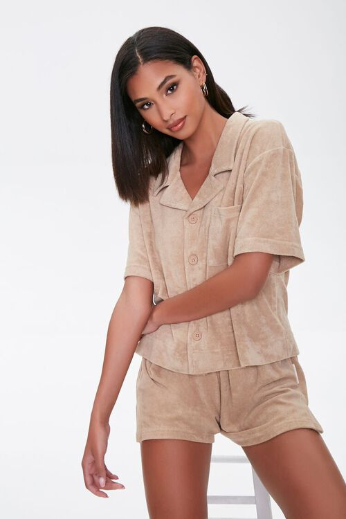 Kendall & Kylie Terrycloth Notched Shirt, image 2