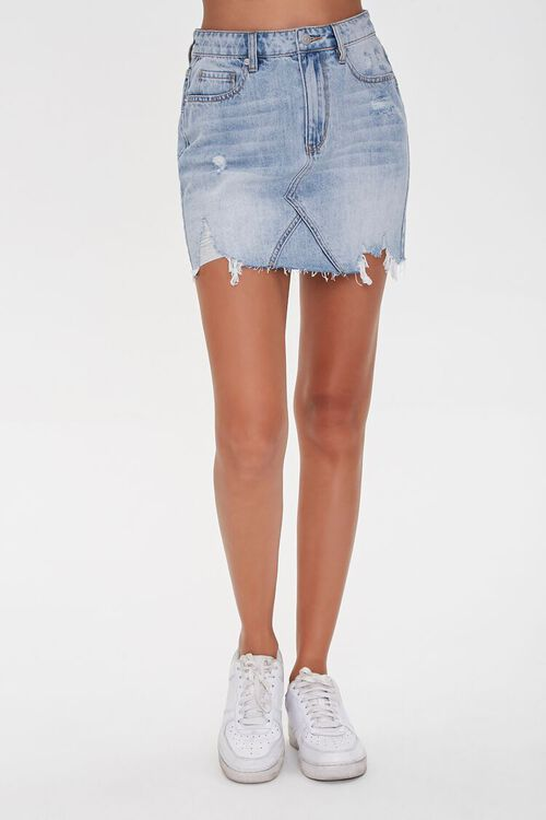 Distressed Denim Mini Skirt, image 2