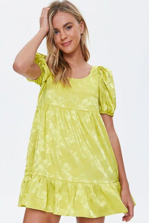 Satin Rose Print Shift Dress, image 1