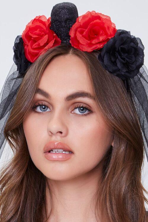 BLACK/RED Gothic Floral Veil Headband, image 2