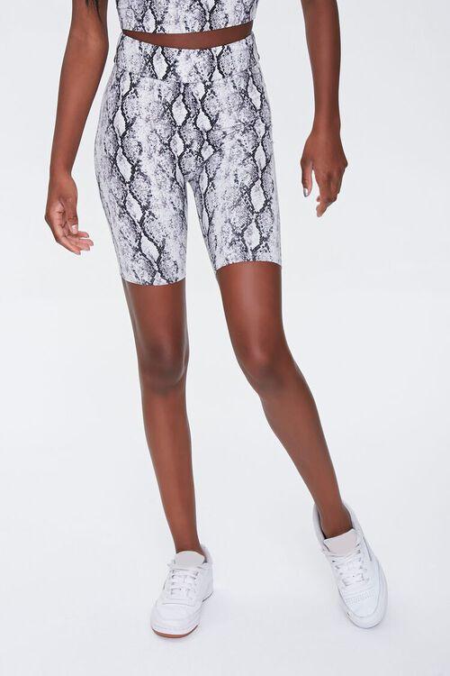 BLACK/MULTI Snake Print Biker Shorts, image 2
