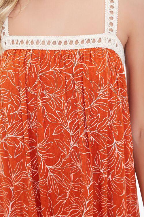 Leaf Print Crochet-Trim Dress, image 5