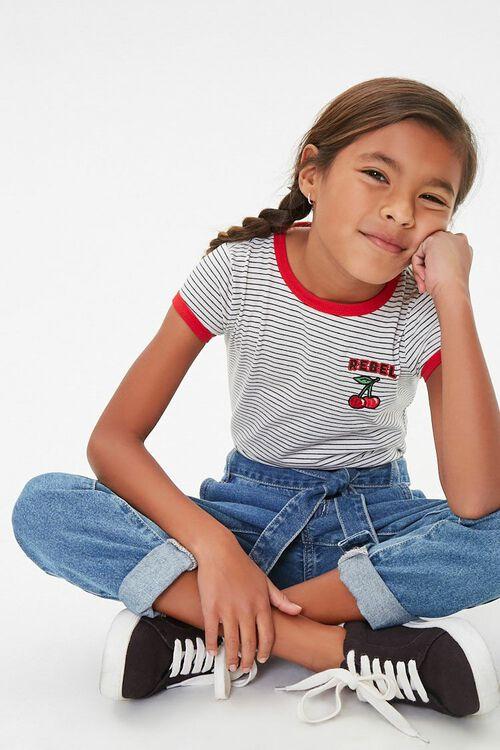 Girls Pinstriped Ringer Tee (Kids), image 3