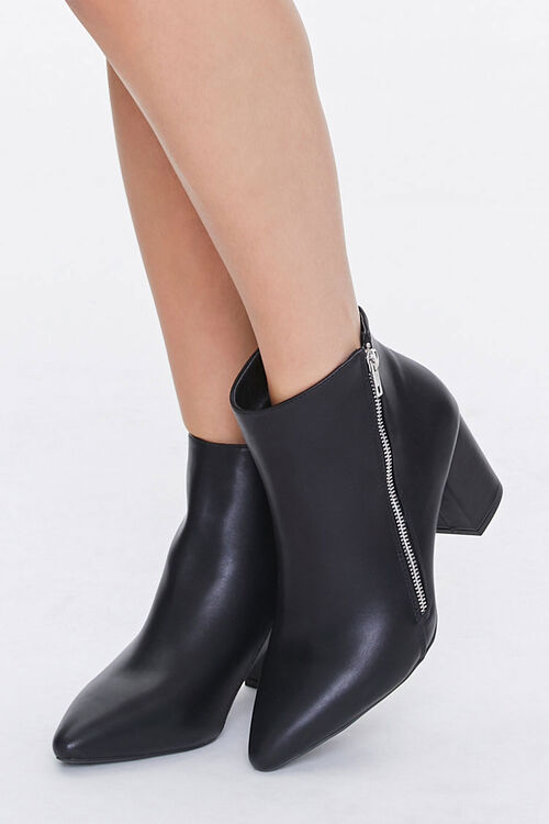 Faux Leather Pointed Toe Booties, image 1